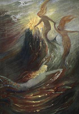 Mermaid Drawing - The Rhine Gold, 1906 by Hermann Hendrich