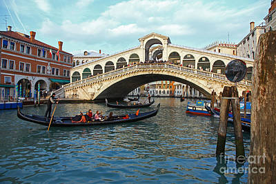 Venice Photograph - The Rialto Bridge Grand Canal Venice Italy by John Keates