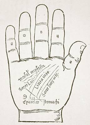 Woodcut Drawing - Antique Palmistry Diagram  The Right Hand, Principal Lines by French School