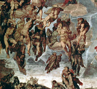 The Righteous Drawn Up To Heaven, Detail From The Last Judgement, In The Sistine Chapel, C.1508-12 Art Print by Michelangelo Buonarroti