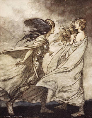 Valkyrie Drawing - The Ring Upon Thy Hand - ..ah by Arthur Rackham
