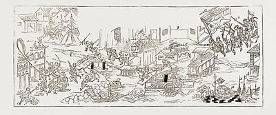 Mandarin Drawing - The Rioting In Canton, 1883 1. Chinese Camp And Tents. 2 by Litz Collection