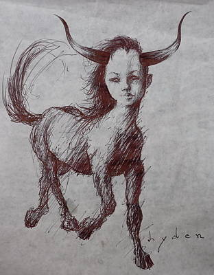 Minotaur Drawing - The Rise Of Women by Les Lyden
