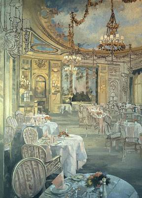 The Ritz Restaurant Oil On Canvas Print by Peter Miller