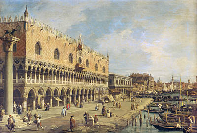 The Riva Degli Schiavoni, Venice Oil On Canvas Art Print