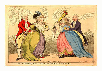 The Rival Queens Or A Political Heat For Rege & Grege Art Print by English School
