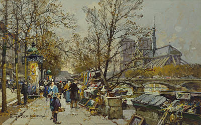 Commuters Painting - The Rive Gauche Paris With Notre Dame Beyond by Eugene Galien-Laloue