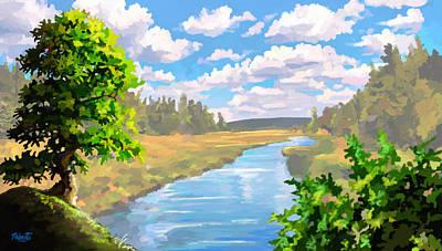 Kenya Digital Art - The River by Anthony Mwangi