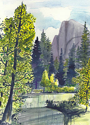 Art Print featuring the painting The River At Yosemite by Terry Banderas