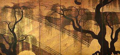 On Silk Painting - The River Bridge At Uji by Mountain Dreams