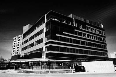 the river center office building downtown Saskatoon Saskatchewan Canada Print by Joe Fox
