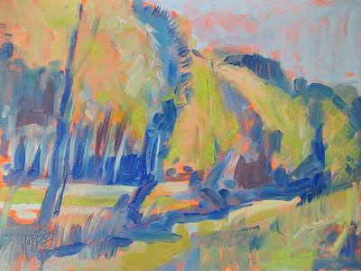 River Painting - The River Donge In Summer Back Light by Nop Briex