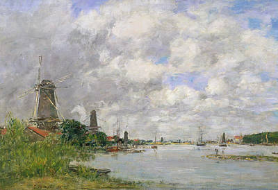 Maas Painting - The River Meuse At Dordrecht by Eugene Louis Boudin
