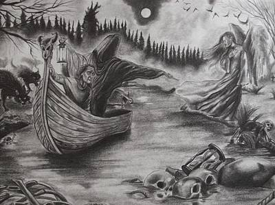 Night Angel Drawing - The River Of Deceit by Amber Stanford