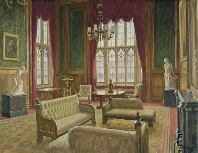 The River Room, Palace Of Westminster Oil On Canvas Print by Julian Barrow