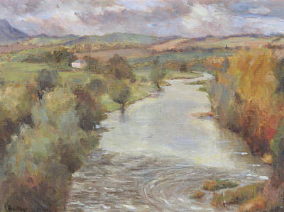 Bank Clouds Hills Painting - The River Tweed, Roxburghshire, 1995 by Karen Armitage