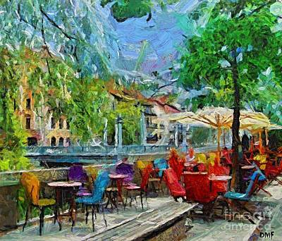The Riverside Cafe Art Print by Dragica  Micki Fortuna