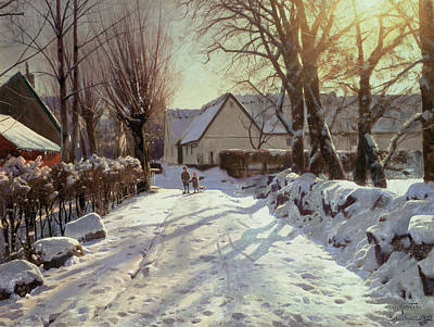 Winter Light Painting - The Road Home by Peder Monsted