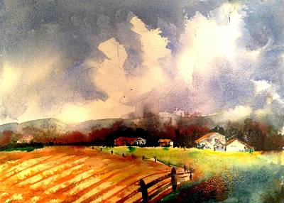 Painting - The Road To Galena by J Worthington Watercolors
