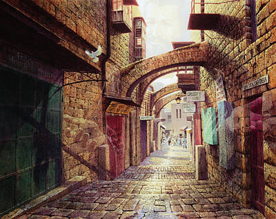 Cross Painting - The Road To The Cross  Jerusalem by Graham Braddock