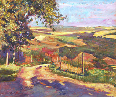 Vista Painting - The Road To Tuscany by David Lloyd Glover