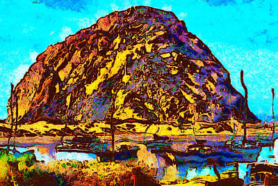 Abstract Seascape Digital Art - The Rock At Morro Bar by Barbara Snyder