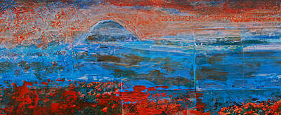 Painting - The Rock Left Panel Of Morro Bay Panorama by Walter Fahmy