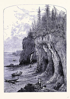 The Maine Drawing - The Rock Near The Ovens Maine United States Of America by American School