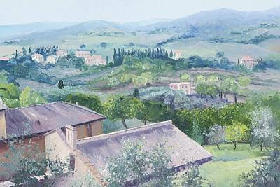 Tuscan Landscape Painting - The Rolling Hills Of Tuscany by Jan Matson
