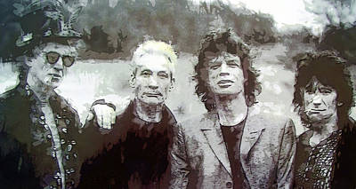 Musicians Digital Art - The Rolling Stones by Daniel Hagerman