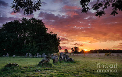 Lights In The Sky Photograph - The Rollright Stones Sunrise by Tim Gainey