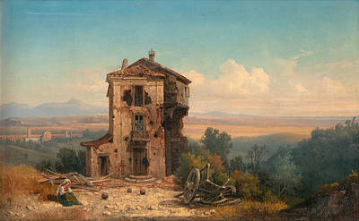 Gustaf Wilhelm Palm Painting - The Roman Campagna by Gustaf Wilhelm Palm