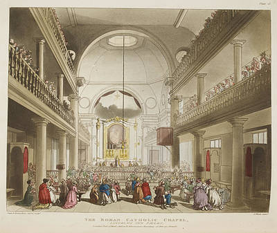 Congregation Photograph - The Roman Catholic Chapel by British Library