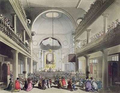 The Roman Catholic Chapel, Lincolns Inn Print by T. & Pugin, A.C. Rowlandson