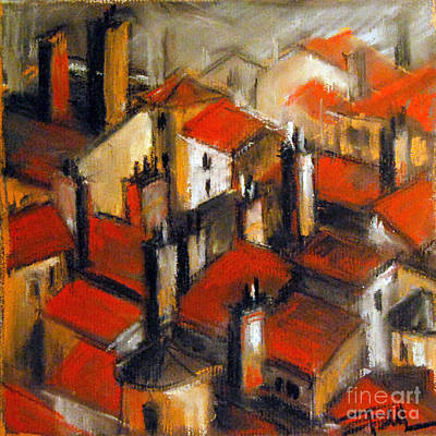 Chimney Pastel - The Roofs Of Lyon by Mona Edulesco