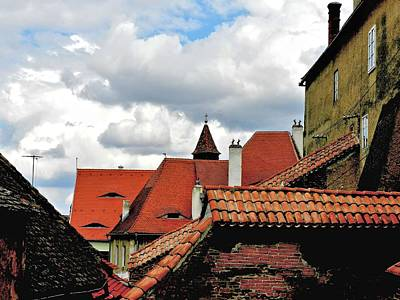 Cit Painting - The Roofs Of Sibiu In Transylvania by Ion vincent DAnu