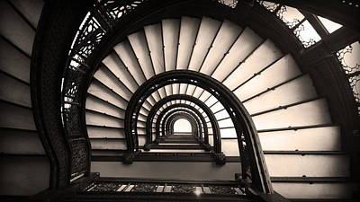 The Rookery Staircase In Sepia Tone Art Print