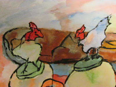 Art Print featuring the painting The Roosters by Shea Holliman