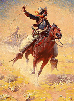 Roping Painting - The Roping by Mountain Dreams