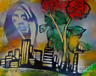 The Rose From The Concrete Gold Art Print by Tony B Conscious