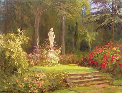 Lawn Green Painting - The Rose Garden by John Arthur Black