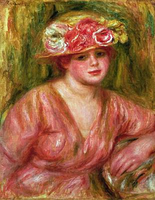 Impressionist Photograph - The Rose Hat Or Portrait Of Lady Hessling by Pierre Auguste Renoir