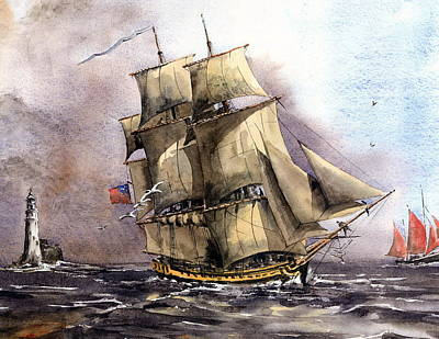 Painting - The Us Tall Shiprose Off The Fastnet by Val Byrne