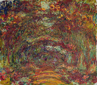 Monet Photograph - The Rose Path, Giverny, 1920-22 Oil On Canvas by Claude Monet