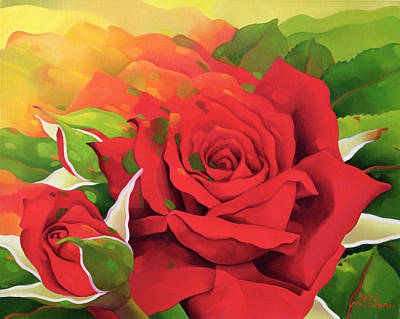 The Roses In The Festival Of Light Print by Myung-Bo Sim