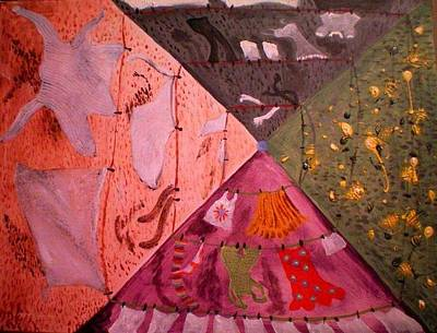 Painting - The Rotary Washing Line by Maria  Disley