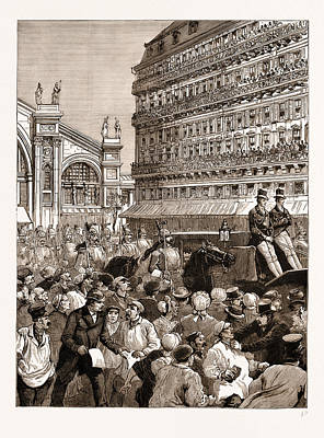Gare Drawing - The Royal Carriage Leaving The Gare Du Nord The Mob Hooting by Litz Collection