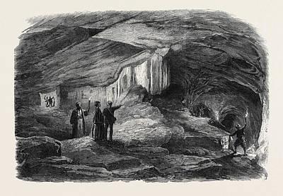 Cavern Drawing - The Royal Caverns At Jerusalem 1869 by English School