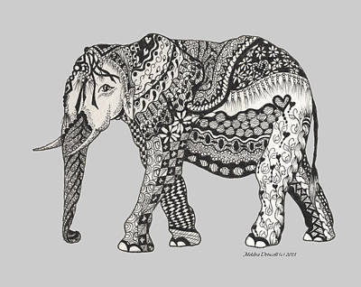 Drawing - The Royal Elephant Zentangled by Meldra Driscoll