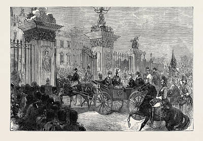 Buckingham Palace Drawing - The Royal Entry Into London The Procession At Buckingham by English School